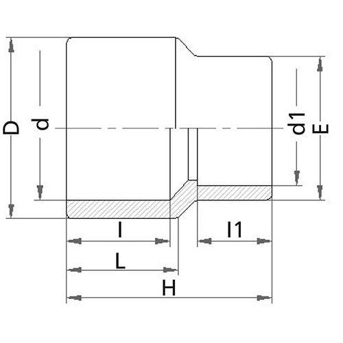 Reducción Macho-Hembra - Encolar 40 x 32 x 20