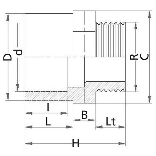 Reducción Unión Mixta Hembra/Macho Encolar-Rosca Macho 125 x 110 x 3''