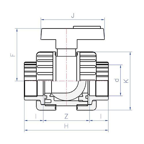 Válvula Esfera Desmontable Bidireccional Standard Encolar 40 x 40