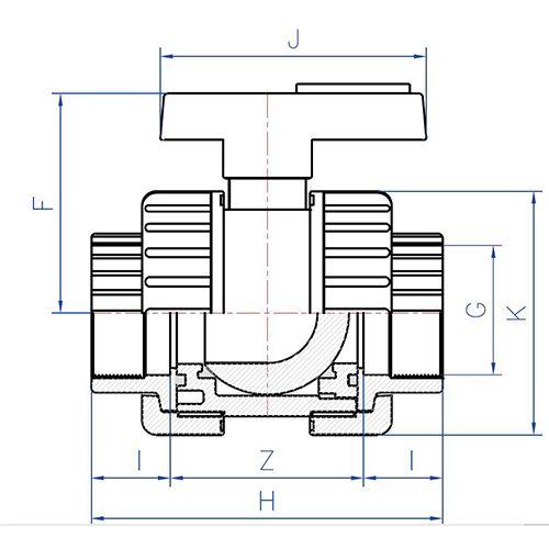 Válvula Esfera Desmontable Bidireccional Standard Roscar con Soporte para Actuador 2 1/2'' x 2 1/2''
