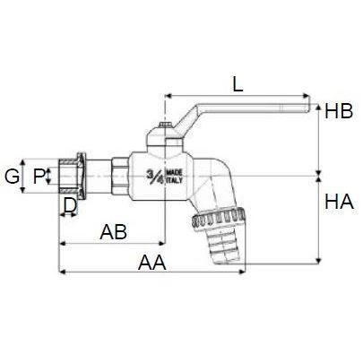 Grifo PP de Esfera Rosca Macho con Adaptador para Manguera en Plástico 3/4''