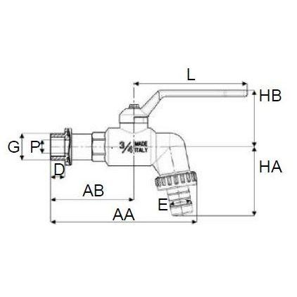 Grifo PP de Esfera ''Artic'' Rosca Macho con Adaptador para Manguera en Plástico 3/4''
