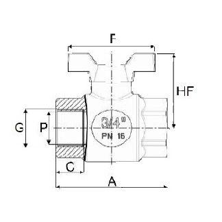 Válvula PP de Esfera Rosca Hembra Maneta Mariposa 1 1/4''