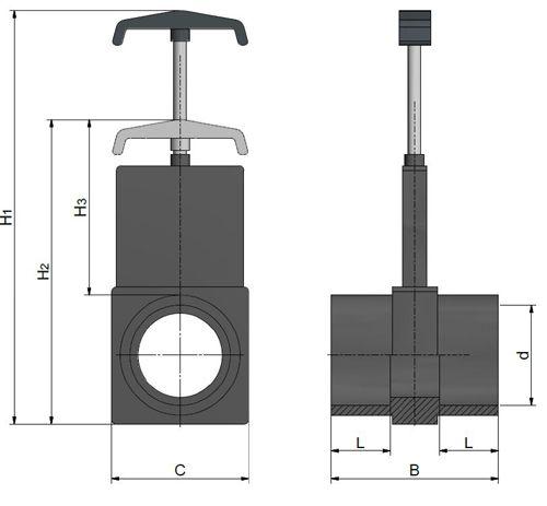 Válvula de Guillotina con Aleta de Plástico 90