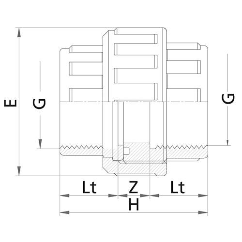 Unión 3 piezas - Rosca Hembra