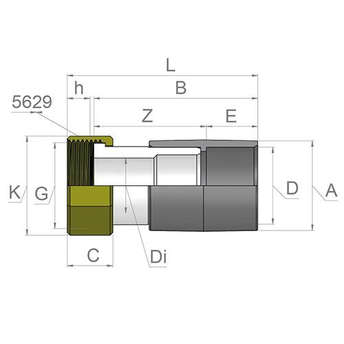 Racord Transición - Hembra  PVC - Rosca hembra Latón (con Junta EPDM)
