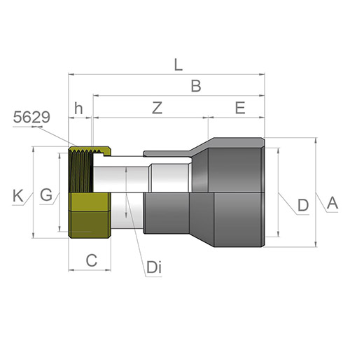 Racord Transición Reductor  - Hembra  PVC - Rosca hembra Latón (con Junta EPDM)