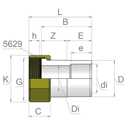 Racord Transición - Macho-Hembra  PVC - Rosca hembra Latón (con Junta EPDM)