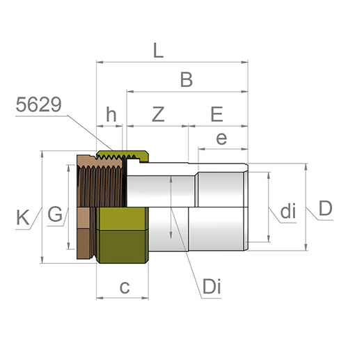 Racord Transición Reductor  - Hembra-Macho  PVC - Rosca hembra Latón (con Junta EPDM)