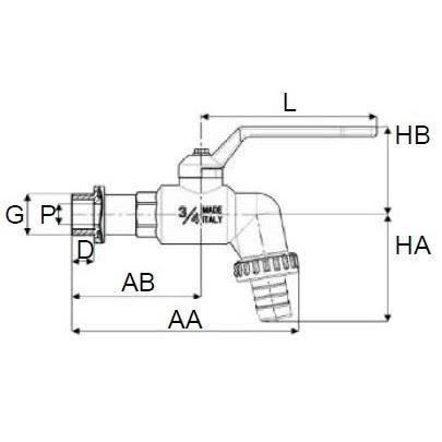 Grifo PP de Esfera Rosca Macho con Adaptador para Manguera en Plástico