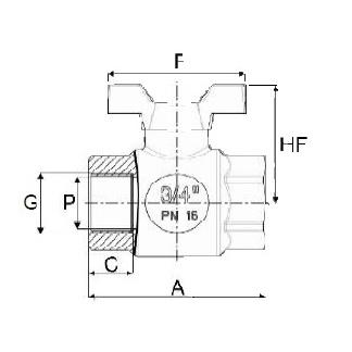 Válvula PP de Esfera Rosca Hembra Maneta Mariposa