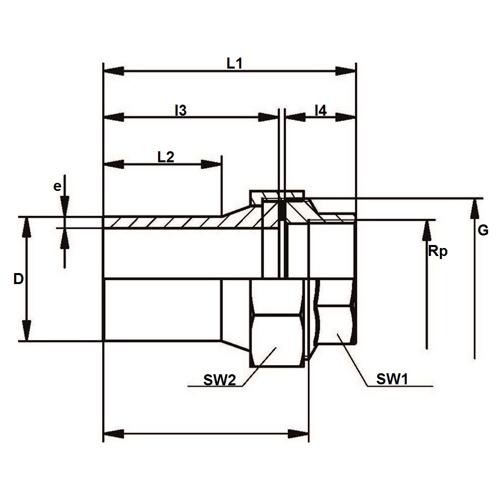 Racord de Tres Piezas de Transición PE - Rosca Hembra de Acero Inox