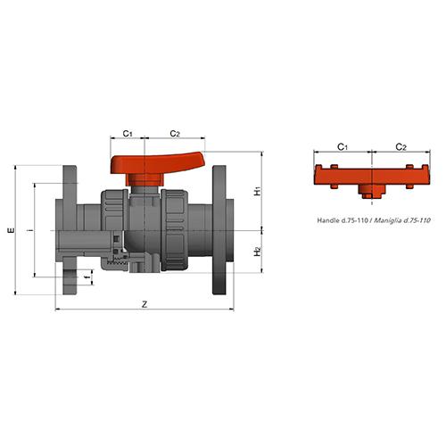 Válvula de Bola para Industria BK1 Doble Unión Embridada (Junta EPDM)